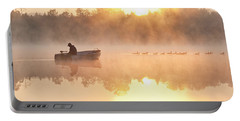 Sunrise In Fog Lake Cassidy With Fisherman In Small Fishing Boat Portable Battery Charger