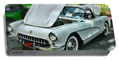 Portable Battery Charger featuring the photograph '56 Corvette by Victor Montgomery