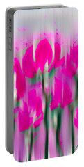 Portable Battery Charger featuring the digital art 6 1/2 Flowers by Frank Bright