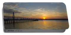 Portable Battery Charger featuring the photograph Arthur Ravenel Bridge Tranquil Sunset by Dale Powell
