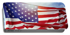 American Flag Portable Battery Charger by Les Cunliffe