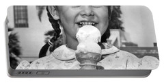 Girl With Ice Cream Cone Portable Battery Charger