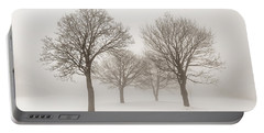 Winter Trees In Fog Portable Battery Charger