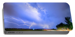 95th And Woodland Lightning Thunderstorm View Hdr Portable Battery Charger