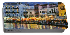 Painting Of The Old Port Of Chania Portable Battery Charger