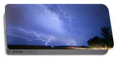 95th And Woodland Lightning Thunderstorm View Portable Battery Charger