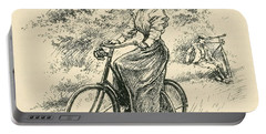 A 19th Century Female Cyclist Portable Battery Charger