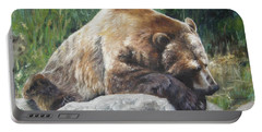 Portable Battery Charger featuring the painting A Bear Of A Prayer by Lori Brackett
