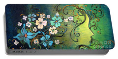 Portable Battery Charger featuring the painting A Beautiful Mind by Shadia Derbyshire