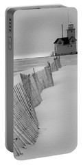 A Black And White Photograph Of The Lighthouse Big Red In Holland Michigan Portable Battery Charger by Randall Nyhof