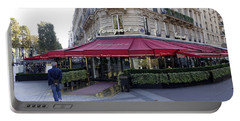 A Cafe On The Champs Elysees In Paris France Portable Battery Charger