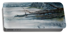 Portable Battery Charger featuring the painting A Cold And Foggy View by Jani Freimann