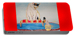 Portable Battery Charger featuring the painting A Cup Of Chihuahua by Phyllis Kaltenbach