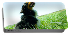 A Cute Dog On The Field Portable Battery Charger