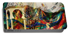 Portable Battery Charger featuring the mixed media A Day In The Park by Ally  White