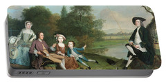 A Family Of Anglers, 1749 Oil On Canvas Portable Battery Charger