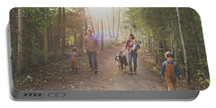A Family Of Five With A Dog Enjoy Portable Battery Charger