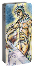 Portable Battery Charger featuring the painting A Fishy Being From Beyond by Shawn Dall