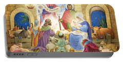 Portable Battery Charger featuring the digital art A Glorious Nativity by Randy Wollenmann