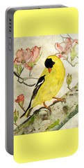 A Goldfinch Spring Portable Battery Charger by Angela Davies