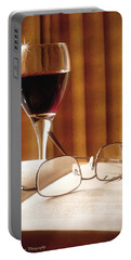 A Good Book And A Glass Of Wine Portable Battery Charger by Lucinda Walter