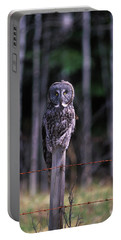 A Great Gray Owl Strix Nebulosa Sits Portable Battery Charger