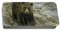 Portable Battery Charger featuring the drawing A Grey And Grizzly Day by Sandra LaFaut