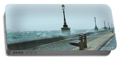 A Grey Wet Day By The Sea Portable Battery Charger by Katy Mei