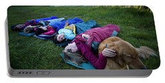 A Group Of Women And A Dog Bedding Portable Battery Charger