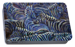 Portable Battery Charger featuring the painting A Group Of Zebras by Xueling Zou