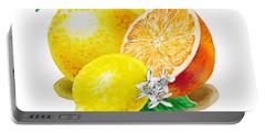 A Happy Citrus Bunch Grapefruit Lemon Orange Portable Battery Charger by Irina Sztukowski