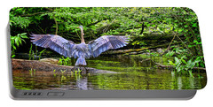 A Heron Touches Down Portable Battery Charger by Eleanor Abramson