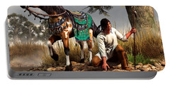 A Hunter And His Horse Portable Battery Charger by Daniel Eskridge