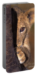 A Lion Cub Plays Hide And Seek Wildlife Rescue Portable Battery Charger