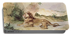A Lion In The Desert Portable Battery Charger