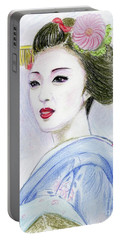 Portable Battery Charger featuring the drawing A Maiko  Girl by Yoshiko Mishina