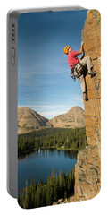 A Man Rock Climbing Above Scout Lake Portable Battery Charger