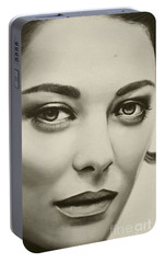 Portable Battery Charger featuring the painting A Mark Of Beauty - Marion Cotillard by Malinda Prudhomme