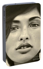 Portable Battery Charger featuring the painting A Mark Of Beauty - Megan Ewing by Malinda  Prudhomme
