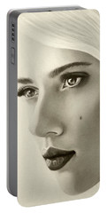 A Mark Of Beauty - Scarlett Johansson Portable Battery Charger by Malinda Prudhomme