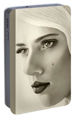 Portable Battery Charger featuring the painting A Mark Of Beauty - Scarlett Johansson by Malinda Prudhomme