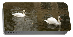 Portable Battery Charger featuring the photograph A Pair Of Swans Bruges Belgium by Imran Ahmed