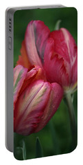 A Pair Of Tulips In The Rain Portable Battery Charger