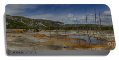 A Panoramic View Of  A Yellowstone Geyser Basin Portable Battery Charger