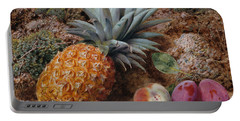 A Pineapple A Peach And Plums On A Mossy Bank Portable Battery Charger