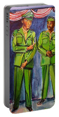 Portable Battery Charger featuring the painting Daddy Soldier by Ecinja Art Works