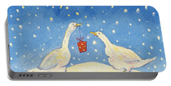 White Goose Drawings Portable Battery Chargers