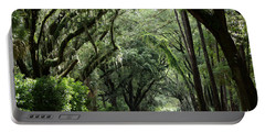 A Pretty Tree Covered Road Somewhere On Hilton Head Island Portable Battery Charger
