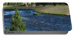 Portable Battery Charger featuring the photograph A River Runs Through Yellowstone by Laurel Powell