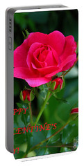 A Rose For Valentine's Day Portable Battery Charger by Mariarosa Rockefeller